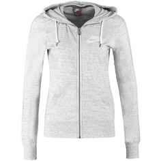 Nike Sportswear GYM VINTAGE Tracksuit top grey heather (165 BRL) ❤ liked on Polyvore featuring activewear, activewear tops, tops, jackets, outerwear, shirts, mottled light grey, long sleeve shirts, cotton shirts and long sleeve cotton shirts