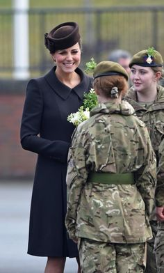 duchesskate:  St. Patrick's Day Parade, 1st Battalion Irish Guards,Mons Barracks, Aldershot, March 17, 2015-the Duchess of Cambridge chats with members of the Irish Guards