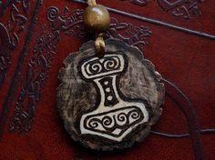 Norse Pagan Thor's Hammer Mjölnir Wood Burned by moonspells, $20.00