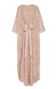 Leavers Lace Chiffon Kaftan by Marchesa Muslim Fashion, Modest Fashion, Hijab Fashion, Boho Fashion, Fashion Dresses, Steampunk Fashion, Gothic Fashion, Kebaya Dress, Dress Pesta