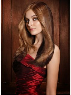 Chocolate Cherry hair color .Steel blue eyes, a cool skin tone and dark hair make a killer combination for Chocolate Cherry brown hair color.