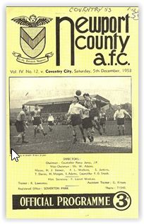 Newport Co 2 Coventry City 1 in Sept 1953 at Somerton Park. The programme cover Coventry City Fc, Newport County, Football Program, South Wales, 1950s, December, Lost, English, Park