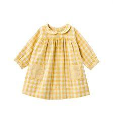 Baby girl round neck, tubic cotton, Vichy check dress