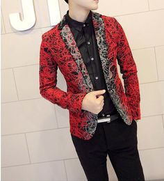 Abstract Floral Pattern Slim Fit Blazers – Style Brewing Company www.stylebrewery.com #menfashion #fashion #mensstyle #blazers