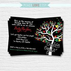 Bob Marley Baby Shower Invitation - 5x7 - Rasta - Love Birds - One Love One Heart - Red, Green, Yellow-  Digital Printable File - Cardstock by PeaceLoveEtsy on Etsy https://www.etsy.com/listing/194381274/bob-marley-baby-shower-invitation-5x7
