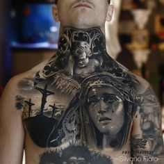 Chest tattoo by Silvano Fiato
