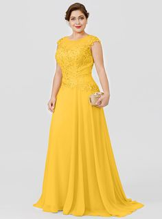 Elegante Plus Size Princess Illusion Neckline Floor Length Sweep / Brush Train Chiffon Be. Plus Size Princess Illusion Neckline Flo. Plus Size Gowns, Evening Dresses Plus Size, Plus Size Wedding Guest Outfits, Beaded Chiffon, Beaded Lace, Hijab Evening Dress, Formal Dresses With Sleeves, Event Dresses, Groom Dress