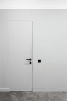 Animatron office on Behance Bathroom Interior Design, Living Room Interior, Modern Interior, Porte Design, Door Design, Black Door Handles, Flush Doors, Modern Door, White Doors