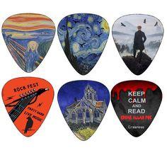 Creanoso Horror Guitar Picks - Medium Celluloid 12-Pack - Van Gogh, Edvard Munch Painting Art Plectrum - Best Guitar Gifts