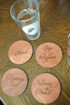 Laser Etched Wooden Toasting Coasters by yourhinote on Etsy, $24.00