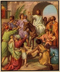 """Jesus triumphal entry into Jerusalem on a donkey  The Prophecy: """"Rejoice greatly, O daughter of Zion; shout, O daughter of Jerusalem; behold, thy King cometh unto thee: He is just, and having salvation; lowly, and riding upon an ass, and upon a colt the foal of an ass.""""  Zechariah 9:9"""