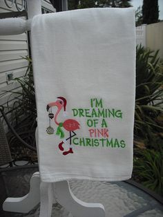 Flamingo Christmas Flour Sack Towels. Machine by flourtowelgal