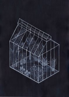 Blue and White Greenhouse Illustrations Appear like Sun-Baked Cyanotypes - Gewächshaus Photoshop Tutorial, Photoshop Actions, Gouache, Colossal Art, White Pencil, Cyanotype, Planer, Digital Prints, Illustration Art