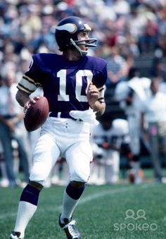 Minnesota Vikings quarterback Fran Tarkenton (10) drops back to pass during a 1973 pre-season game. Description from spokeo.com. I searched for this on bing.com/images
