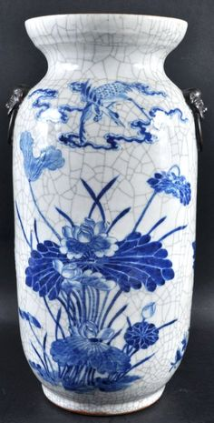 A LATE 19TH CENTURY CHINESE BLUE AND WHITE CRACKLEGLAZE : Lot 1