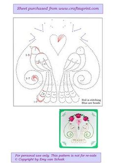 ED005 Wedding doves on Craftsuprint designed by Emy van Schaik - Stitching with beads - Now available for download!