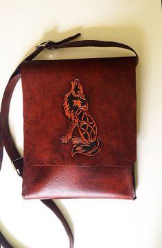Tooled Celtic Wolf Leather Messenger bag satchel  by HydeAndSheik, $259.45