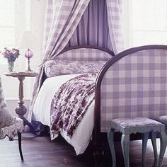 Country Chic room with lavender accents #country #checkered #lavender #shabbychic