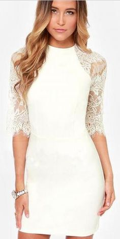 So Pretty! White Half Sleeve Lace Back Bodycon Party Dress