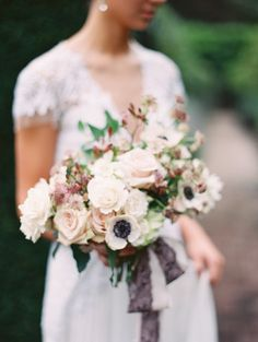 Romantic fall wedding bouquet with berry ribbon: http://www.stylemepretty.com/2016/12/15/the-best-bouquets-of-2016/ Photography: Kurt Boomer - http://www.kurtboomer.com/