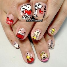 - Nailpolis: Museum of Nail Art Shiny Nails, Fancy Nails, Love Nails, Pretty Nails, Fruit Nail Designs, Toe Nail Designs, Seasonal Nails, Holiday Nails, Snoopy Nails