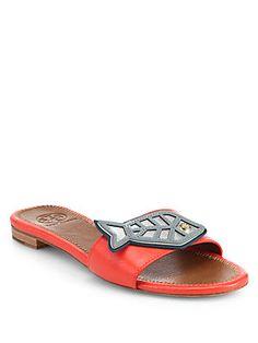 Tory+Burch Fish-Appliqué+Leather+Slide+Sandals