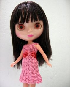Dress for Blythe doll pink with pink flowers crocheted by Loststitch for $4.99