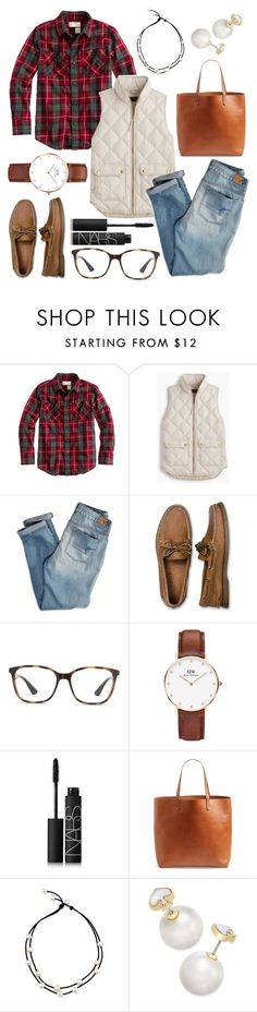 """""""For My Love Of Flannel"""" by bowhunter1498702 ❤ liked on Polyvore featuring J.Crew, American Eagle Outfitters, Sperry, Ray-Ban, Daniel Wellington, NARS Cosmetics, Madewell and Kate Spade"""
