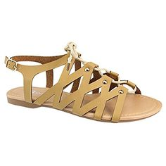 e6d162420 BELLA MARIE CHELSSI-10 Women s Lace Up Buckle Strap Gladiator Flat Sandals