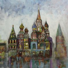 St. Lawrence Basil's Moscow Russia acrylic painting by Gray Artus #Asheville Artist
