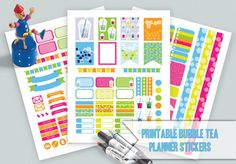 Bubble Tea Planner Stickers/Weekly Kit/Erin Condren Life Planner/Planner Stickers/Weekly Kit/Printable Planner Stickers/Instant Download
