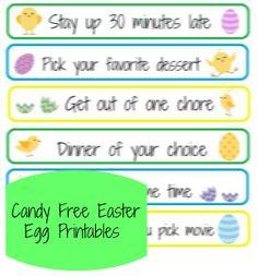 Candy Free Easter Egg Printables  #Easter #Printables