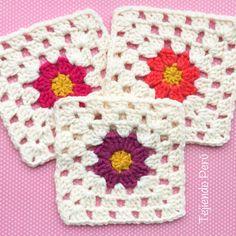 Crochet: granny con flor de margarita en el centro! Tejimos las margaritas de diferentes colores y quedaron lindas :) Enlace al diagrama!
