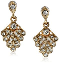 Downton Abbey Boxed GoldTone Crystal Pave Fan Drop Earrings >>> To view further for this item, visit the image link.