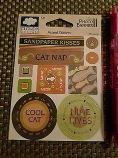Cat Stickers Pet Accent Stickers Scrapbooking Crafting Card Making cloud9
