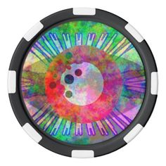 grunge poker chip with an eye icon
