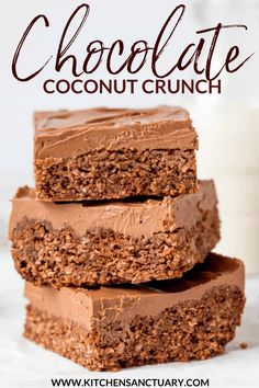 Chocolate Coconut Crunch - my take on the Aussie Crunch we used to get at school. They're crunchy, chewy, very chocolatey and so addictive! Tray Bake Recipes, Best Dessert Recipes, Sweet Recipes, Cookie Recipes, Chocolate Coconut Slice, Chocolate Crunch, Chocolate Desserts, Chocolate Heaven, Crunch Recipe