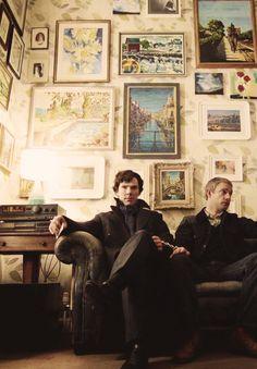 Sherlock Holmes (Benedict Cumberbatch) and John Watson (Martin Freeman). Sherlock Bbc, Benedict Sherlock, Sherlock Cumberbatch, Sherlock Fandom, Watson Sherlock, Sherlock Poster, Jim Moriarty, Sherlock Quotes, Sherlock Comic