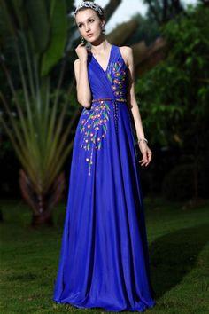 Faddish Straps V-neck Floor Length A-line Evening Dress