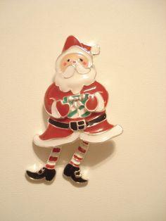 Vintage Christmas Santa Brooch Enamel by ONCEINABLUEMOONFIND