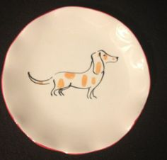 Anthropologie Ponza Dog Canape Plate Sold Out Dachshund Collectible Eartenware | eBay