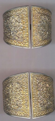 Indonesia | Silver gilt cuffs. Aceh, Sumatra  | ©Archives sold Singkiang