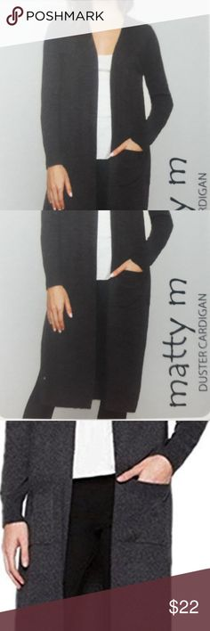 Matty m Ladies' Duster Cardigan Sweater Charcoal Matty M Ladies' Duster Cardigan Sweater Charcoal   Product Description:- Color : Charcoal  60% Acrylic 20% Nylon 20% Cotton Rib detail on cuffs, side seam and pockets Open front Long sleeves Patch pockets Matty M Sweaters Cardigans