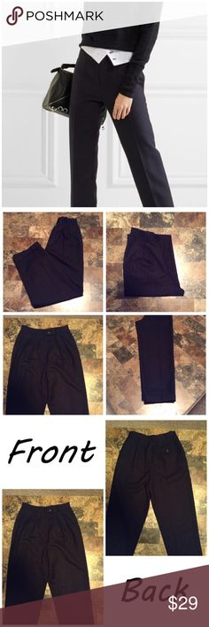 """Ralph Lauren 100% Wool Pin-Striped Pants First pic of model wearing this style of Pants. Last 3 pics are of actual item/color. Size 8P. Black pin stripe design. High waist. Cuffed. Lined. Belt loops. Leg Opening """"8. Rise """"13. Laying flat """"13.5. Length """"38.5. Inseam """"27. This Item is not new, It is used and is in EUC. Please use Offer button, I will not negotiate in the comment section. Smoke/Pet free home. Thanks✨😀 Ralph Lauren Pants"""