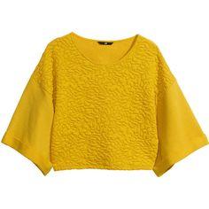 H&M Sweatshirt (€7,08) ❤ liked on Polyvore featuring tops, hoodies, sweatshirts, shirts, yellow, sweaters, short-sleeve shirt, short tops, short sleeve tops and short sleeve sweatshirt