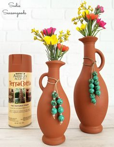 How well does terracotta spray paint from Rust-oleum do on upcycled glass? Sadie Seasongoods puts it to the DIY test in this fun and simple repurpose craft project using glass cruets from her cupboard. DIY southwestern decor with a faux finish is easier than you may think! Get the full scoop at www.sadieseasongoods.com