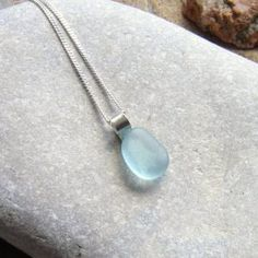 Small Aqua Blue Sea Glass Pendant