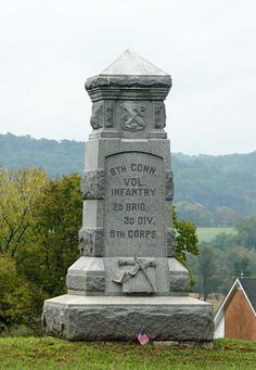 Monument to the 8th Connecticut Infantry Regiment on the Antietam battlefield outside Sharpsburg Maryland.