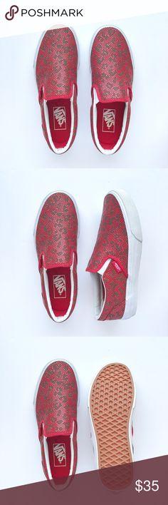 New Red Debossed Leopard Slip-On Never been worn, debossed leopard on red color perforated leather. W/O box. Women's size 7 / Men's size 5.5 Vans Shoes Sneakers
