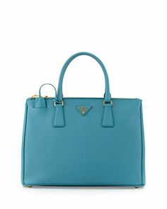 Saffiano Small Double-Zip Executive Tote Bag, Turquoise (Turchesse) by Prada at Neiman Marcus.